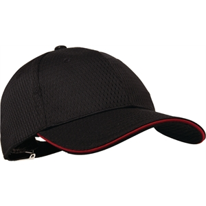 Black Baseball Cap with Red Trim