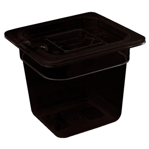 Black Polycarbonate Gastronorm Container 1/6 Size 100mm deep