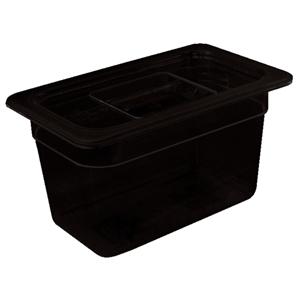 Black Polycarbonate Gastronorm Container 1/9 Size 100mm deep