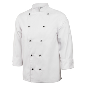 Chefs Jacket Stud Button White Long Sleeve.