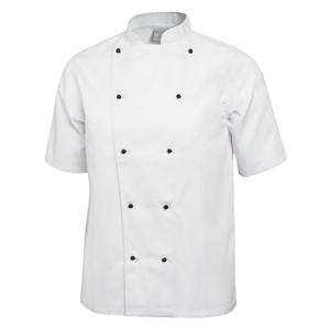 Chefs Jacket Stud Button White Short Sleeve.