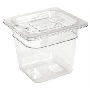 Clear Polycarbonate Gastronorm Container 1/6 Size 100mm deep