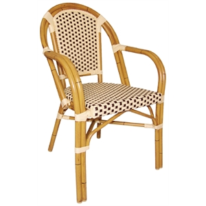 Continental Bistro Wicker Armchair Cream and Brown (Each)