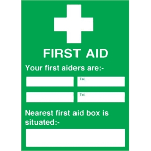 First Aiders Nearest First Aid Box Sign