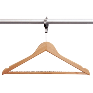 Hotel Room Wooden Hangers with Security Collar