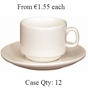 Ivory Porcelain Stacking Espresso Saucer 3oz