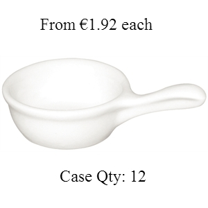 Miniature Pan Shaped Bowls White 35(h)x68(w) mm