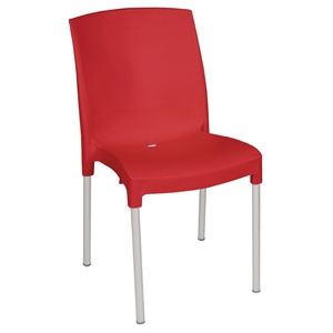 Polypropylene Stacking Bistro Side Chair Red (Each)
