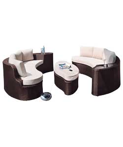 Rattan Effect 6 Seat Sofa Set.