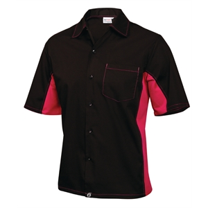 Staff Uniform Contrast Shirt Black and Berry