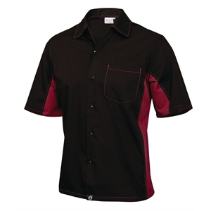 Staff Uniform Contrast Shirt Black and Merlot