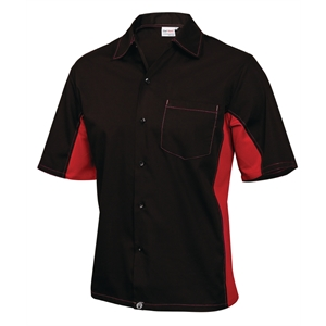 Staff Uniform Contrast Shirt Black and Red