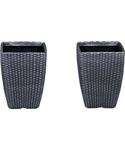 Tall Rattan Effect Garden Planters - Pack of 2.
