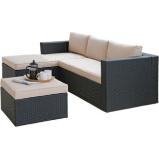3 Seat Rattan Effect Mini Corner Sofa