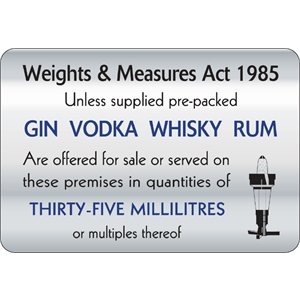 35ml Weights & Measures Act Signv
