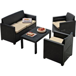 4 Seat Rattan Effect Patio Furniture Set.