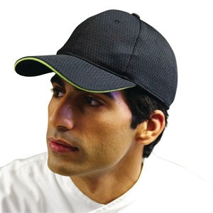 Black Baseball Cap with Lime Trim