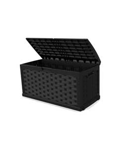 Black Rattan Effect Plastic Outdoor Storage Box.