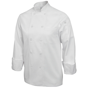 Chefs Jacket Pearlised Button White Long Sleeve.