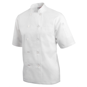Chefs Jacket Pearlised Button White Short Sleeve.