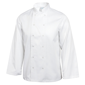 Chefs Jacket Press Stud White Long Sleeve.