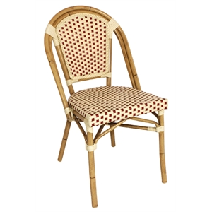Continental Bistro Wicker Side chair Red and Cream (Each)