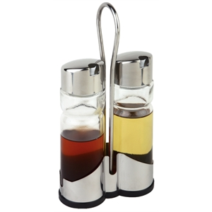 Cruet Set Oil & Vinegar with Stand