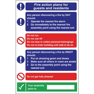 Fire Action Plan Sign For Guests & Residents