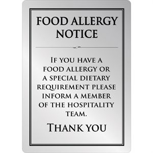 Food allergy sign silver A5