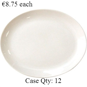 Ivory Porcelain Plate Oval Coupe 11""