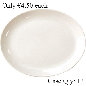 Ivory Porcelain Plate Oval Coupe 8""