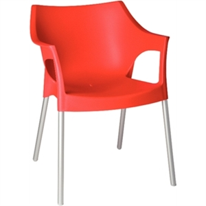 Polypropylene Stackable Outdoor Chair Red with Arm Rests (Each)