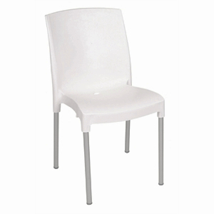 Polypropylene Stacking Bistro Side Chair White (Each)