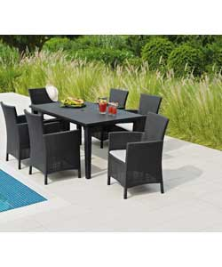 Rattan Effect 6 Seat Dining Set.
