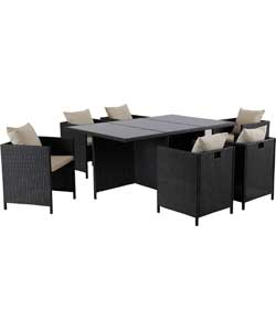Rattan Effect Cube 6 Seat Furniture Set.