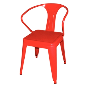 Steel Bistro Armchair Red (Each)