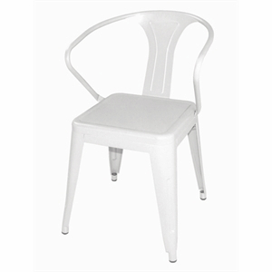 Steel Bistro Armchair White (Each)