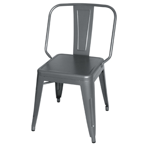 Steel Bistro Side Chair Gun Metal Grey (Each)
