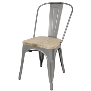 Steel Grey Dining Sidechairs with Wooden Seatpad (Each)