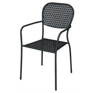 Steel Patterned Bistro Black Armchair (Each)