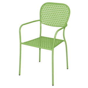 Steel Patterned Bistro Green Armchair (Each)