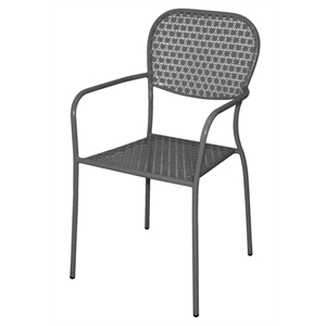 Steel Patterned Bistro Grey Armchair (Each)