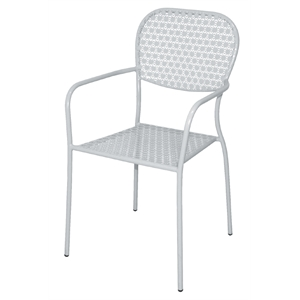 Steel Patterned Bistro White Armchair (Each) (3)