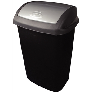 Swing Top Bin Black 50Ltr