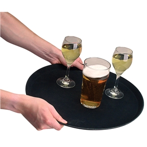Trays: Anti Slip Tray Round Plastic 16""